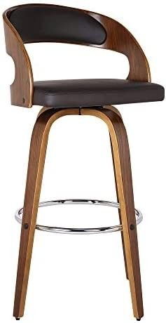 Armen living Shelly 30  Bar Height Barstool in Brown Faux leather and Walnut Wood Finish