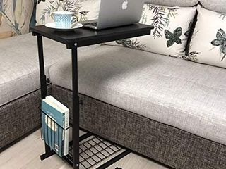 micoe Sofa Side Table with Wheels Couch TableaThat Slide Under with Storage Shelves C Style Height Adjustable for Home Room Office Black