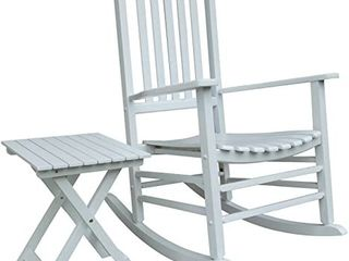 Rocking Rocker   S001wt White Porch Rocker With Side Table   Set Of 2 Pcs Goo