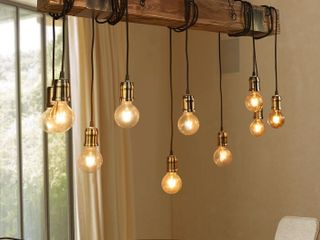 lumsden 10   light Kitchen Island Bulb Pendant with Wood Accents