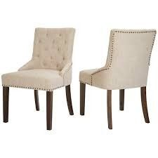 Red Hook Martil Upholstered Dining Chair With Nailhead Trim  Biscuit Beige  Set