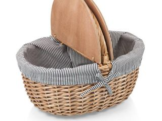 Picnic Time Country Navy   White Striped Picnic Basket