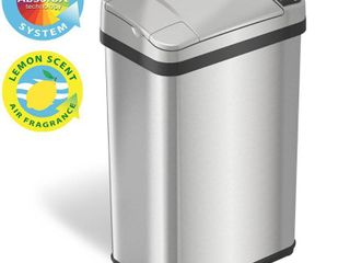 iTouchless   4 Gallon Touchless Sensor Trash Can with AbsorbX Odor Control and Fragrance  Stainless Steel Bathroom Garbage Bin   Stainless Steel