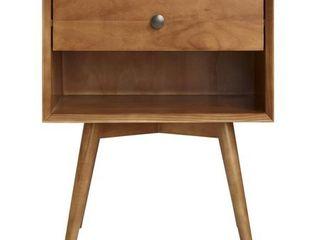 MCM 1 Drawer Solid Wood Nightstand   Caramel