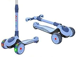 Allek F01 Folding Kick Scooter for Kids  3 Wheel lED Flashing Glider Push Scooter with Height Adjustable and Foldable Handlebar  Dual Color Anti Slip Wide Deck for Boys Girls 3 12