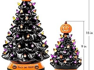 RJ legend 15 Inch Halloween Decorations Ceramic Tree   50  Multicolor Bulbs Halloween Tree a Handcrafted and Hand Paint