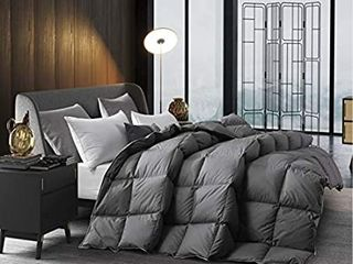 drtoor All Seasons Down Comforter  luxurious King Duvet Insert  100  Hypoallergenic Cotton Cover with Silver Edge  56oz Fill Weight  High Fill Power  a Grey  Queen Size
