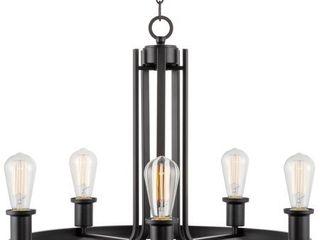 Kira Home Bishop 23  5 light Modern Farmhouse Wagon Wheel Chandelier  Round Kitchen light  Adjustable Height  Black