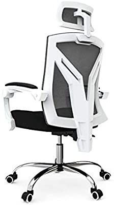 Hbada Ergonomic Home Office Chair   High Back Desk Chair Racing Style with lumbar Support   Height Adjustable Seat Headrest  Breathable Mesh Back   White  missing the head rest
