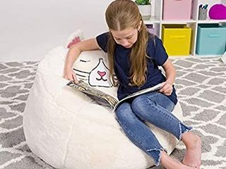 Posh Creations Cute Soft and Comfy Bean Bag Chair for Kids  large  Animal   Ivory Cat