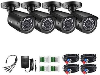 ZOSI 4 Pack 2MP 1080p HD TVI Home Security Camera Outdoor Indoor 1920TVl 24PCS lEDs 80ft Night Vision  90AView Angle  Weatherproof Outside Surveillance CCTV Bullet Camera Black