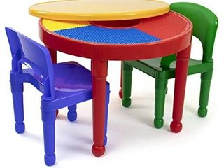Humble Crew  Red Green Blue Kids 2 in 1 Plastic Building Blocks Compatible Activity Table and 2 Chairs Set  Round  Primary Colors