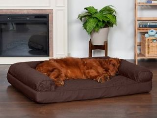 FurHaven Quilted Orthopedic Sofa Cat   Dog Bed w  Removable Cover  Coffee