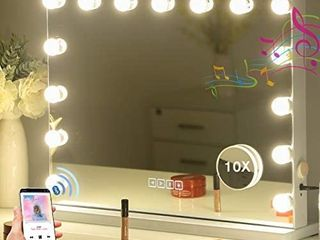 Hansong large Bluetooth Mirror Vanity Makeup with lights Hollywood lighted Mirror with 3 Color lighting Modes for Tabletop Mirror   Wall Mounted 15pcs Dimmable Bulbs USB Outlet and Smart Touch Control