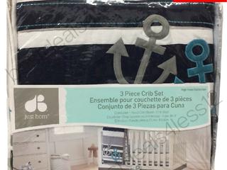 Just Born Baby 3 PC Crib Bedding Set  High Seas w  comforter sheet skirt