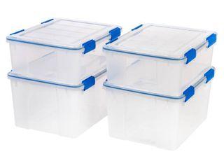 IRIS 44qt 26 5qt Weathertight Storage Bin Set Clear
