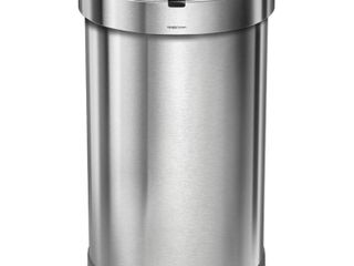 simplehuman 45l Stainless Steel Semi Round Motion Sensor Can Silver