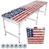 GoPong 8 Feet Beer Pong Tailgate Table  American Flag Edition