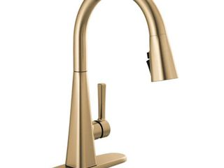 Delta lenta Single Handle Pull Down Sprayer Kitchen Faucet with Shield Spray Technology in Champagne Bronze