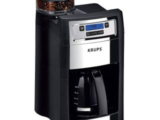 Krups Grind and Brew 10 Cup Stainless Steel Drip Coffee Maker with Built In Grinder  Black and Stainless