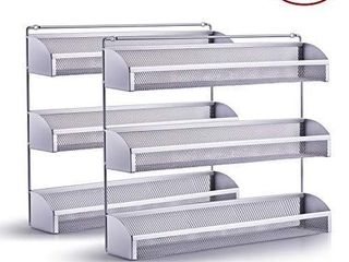 2 Pack  Simple Trending 3 Tier Spice Rack Organizer  Wall Mounted Spice   Silver