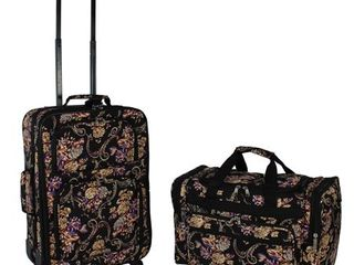 World Traveler 2 Piece Carry On Expandable Spinner luggage Set   Classic Floral