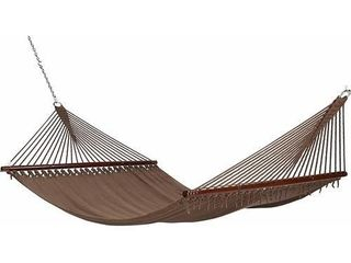 Project One 10FT Polyester Soft Spun Rope Hammock  51inch large Double Wide Two Person with Spreader Bars   for Outdoor Patio  Yard  and Porch  Mocha