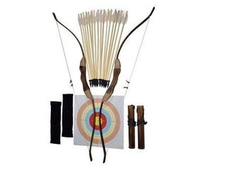 FSFF Enhanced Wooden Bow and Arrow for Kids 2 Bows 2 Four Arrow quivers 16 Arrows w  Feathers 10 large Targets   2 armguards Great Archery Set for Youth