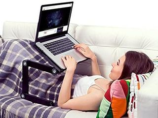 Adjustable laptop Cooling Stand   lap Desk for Bed Couch w Mouse Pad  Ergonomic Height Angle tilt Aluminum Desktop Tray Portable MacBook pro Computer Riser Table Cooler Folding Holder