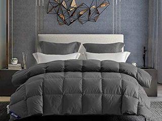 drtoor luxurious Down Comforter  All Seasons Queen Duvet Insert  100  Hypoallergenic Cotton Cover  High Fill Power  42oz Fill Weight a Grey  Full Queen Size
