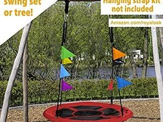 Saucer Tree Swing  Giant 40 Inches with Carabiners and Flags  700 lb Weight Capacity  Steel Frame  Waterproof  Easy to Install with Step by Step Instructions  Non Stop Fun   Red