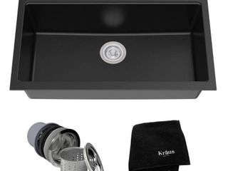 Kraus KGU 413B Undermount Single Bowl Onyx Granite Kitchen Sink  31 Inch  Black