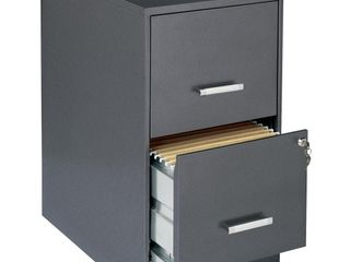 lorell 2 Drawers Vertical Steel lockable Filing Cabinet  Gray