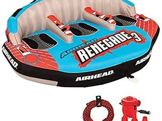Airhead Renegade 3 Person Inflatable Towable Water Tube Kit W  Boat Rope   Pump