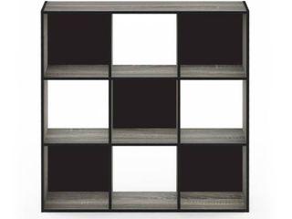 Furinno Pelli Cubic Storage Cabinet  3x3  French Oak Grey Black  18055GYW
