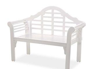 lutyens Outdoor Garden Bench Folds for Storage   Made of Eucalyptus Wood  White