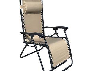 Outdoor Zero Gravity lounge Folding Portable Reclining Patio Chair  Beige