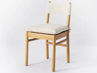 Knock Down Emery Wood Dining Chair with Upholstered Seat and Sling Back Natural   Threshold designed with Studio McGee