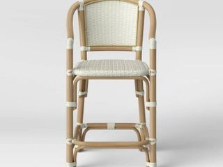 Parksley Rattan and Woven Counter Height Barstool White   Threshold