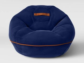 Bean Bag Chair with Suede Piping Navy   Pillowfort   Brown Blue