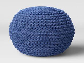 Cloverly Chunky Knit Pouf Blue   Threshold