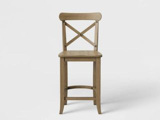 24  litchfield X Back Counter Height Barstool Driftwood Brown   Threshold