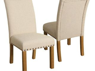 Set of 2 Michele Dining Chair with Nailhead Trim Natural   HomePop