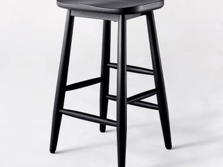 Haddonfield All Wood Backless Counter Height Barstool Black   Threshold designed with Studio McGee