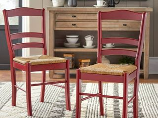 Set of 2 Paloma Dining Chairs with Rush Seat Red   Buylateral