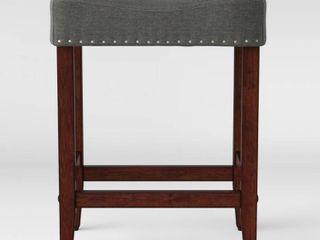24  Rumford Saddle Counter Height Barstool with Wood leg Gray   Threshold
