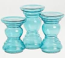 Set of 3 Mercury Glass Chamberstick Candles by Valerie Icy Blue