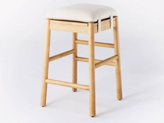 Emery Backless Wood Counter Height Barstool with Upholstered Seat Natural   Threshold designed with Studio McGee