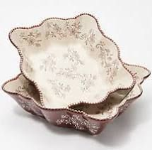Temp tations Floral lace Set of 2 16 oz Oval Minis Chocolate