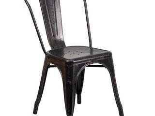 Flash Furniture Black Antique Gold Metal Indoor Outdoor Stackable Chair